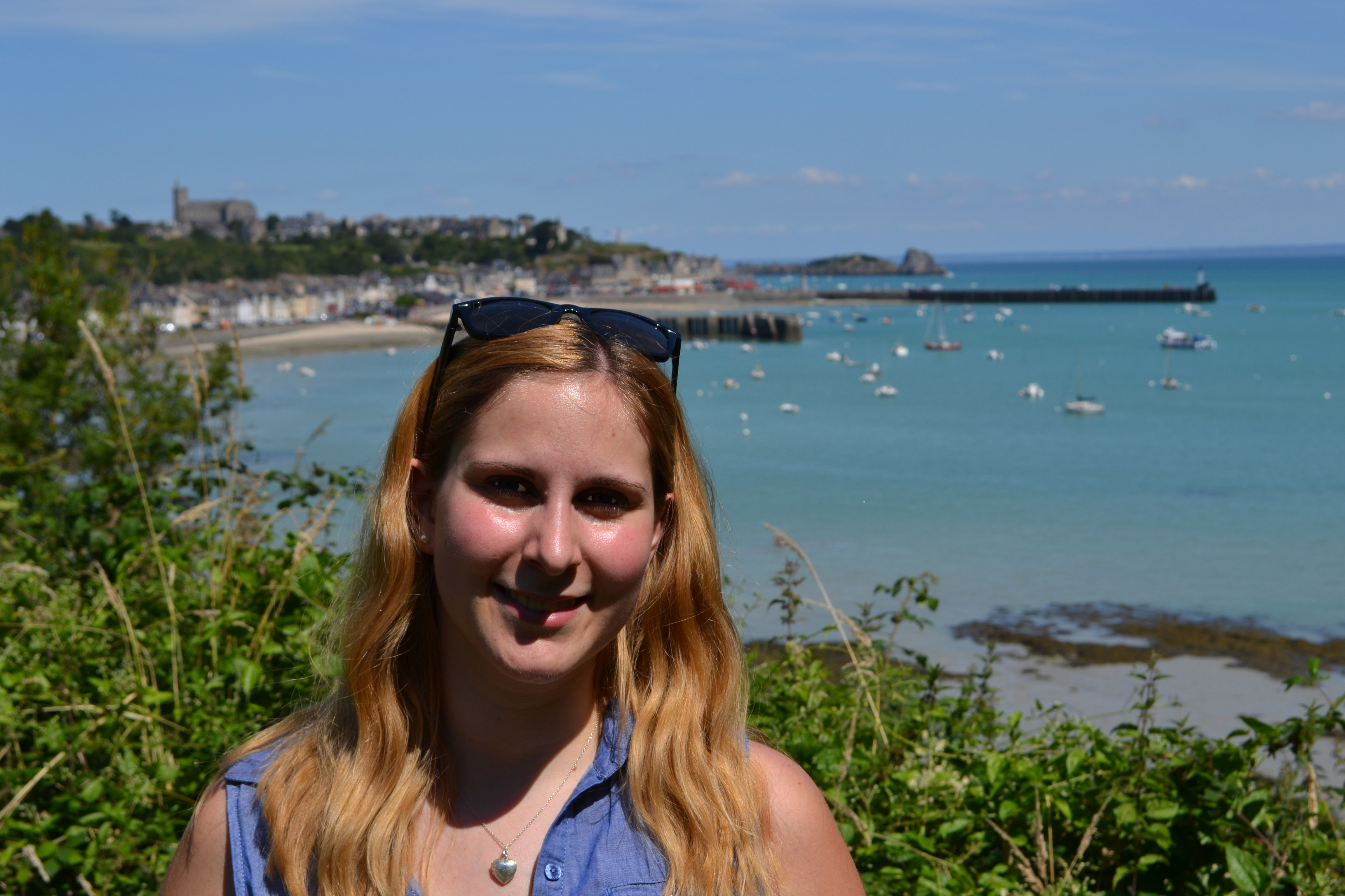 Aurelia Pradel, shown here in Cancale, Brittany, France, will teach introductory French courses this year at Tech.