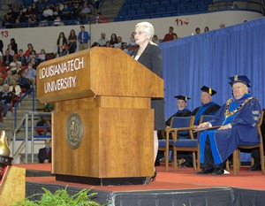 Phyllis Taylor addresses Louisiana Tech graduates during fall 2012 commencement.