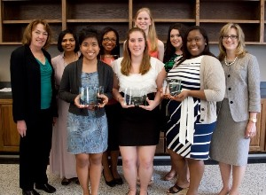 From left to right – Front row: Samanthan Fadrigalan, Brianna Lawson, Alexis McGee.  Back row: Dr. Lucy Sanders, Sanjeetha Peters, Jasmin Chriss, Ashley Schoonmaker, Candice Richardson, Dr. Jenna Carpenter.