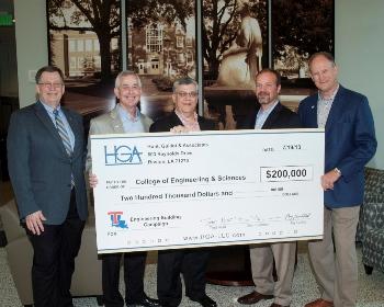 From left - Louisiana Tech President Les Guice, Jay Guillot (HGA), Stan Napper (Louisiana Tech VP for R&D), Don Plummer (HGA), and Trot Hunt (HGA)