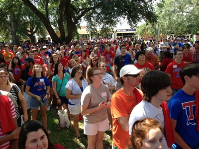 Nearly 2,200 students and parents packed Louisiana Tech's Quad for Time Out for Tech