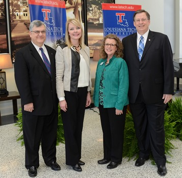 Louisiana Tech VP for Research & Development Dr. Stan Napper (left), Dow's Stacy Chiasson, Louisiana Tech Engineering and Science Foundation President Sandy Johnson, Louisiana Tech President Les Guice