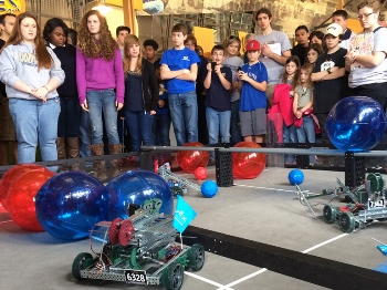 Students observe teams at the Louisiana Tech-Red Stick VEX Tournament