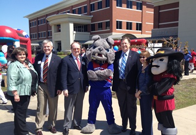 Leaders from Louisiana Tech and Bossier Parish Community College celebrate Bridge to Bulldogs during recent Tech Day at BPCC.