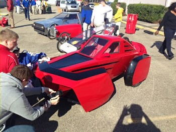 Louisiana Tech's team prepares 'Diesel Dawg' for the Shell Eco-marathon Americas competition in Houston.