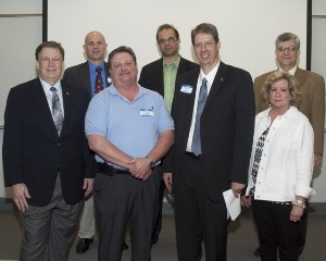 From left: Louisiana Tech President Les Guice, Dr. David Hall, CETF's Steve Terrill, Dr. Erez Allouce, Dr. Hisham Hegab, Catherine Fraser and Dr. Stan Napper.