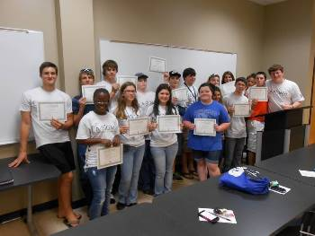 Students from Louisiana and Oklahoma receive their certificates after completing the STEM Student Experience program at Louisiana Tech.