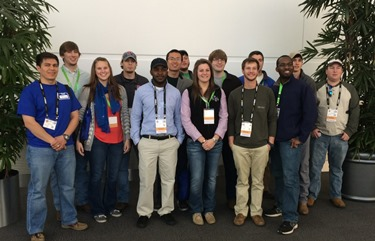 Left to right: Front row - Urso Campos, Lanie Champlin, Tredarius Williams, Mallory Walters, Wesley Canady, and Lane Elien.  Back Row - Stetson Hickman, Ian Wymore, Xuanchen Yan, Ethan Nugent, Zach Hernandez, Tyler Harrell, Ben Curry, and Taylor Jordan.