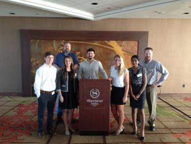 From left – Hunter Greene, Dr. Robert Blackstock, Sarah Funderburk, Michael Lites, Erica Stewart, Priya Raj and Dr. Jared Egginton.