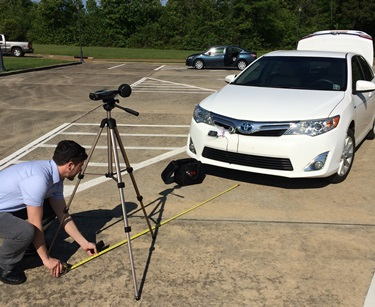 Louisiana Tech researchers conduct noise output measurements on electric cars.