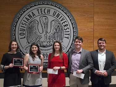 L-R: Katie Lybrand, Mary Voisin, Mallory Walters, Tyler Harrel and Ethan Nugent