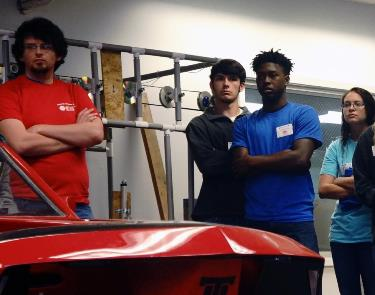 High school students learn more about Louisiana Tech's award-winning eco-car during Engineering and Science Day.