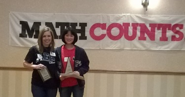 Amanda Meng (right) and Dr. Beth Hegab at MATHCOUNTS competition.