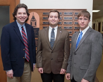 L to R - Dr. James Palmer (advisor), Evan McDougall and Dustin Savage