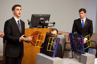 L-R: Senior Design Team for Rail Platform Draw Bridge – Paden Sparks, Taylor Tuggle and Austin Engen (Bryce Pfeiffer – not pictured).