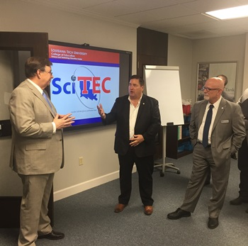 Louisiana Tech President Les Guice (left) welcomes Lt. Governor Billy Nungesser (center) with College of Education Dean Don Schillinger (right).