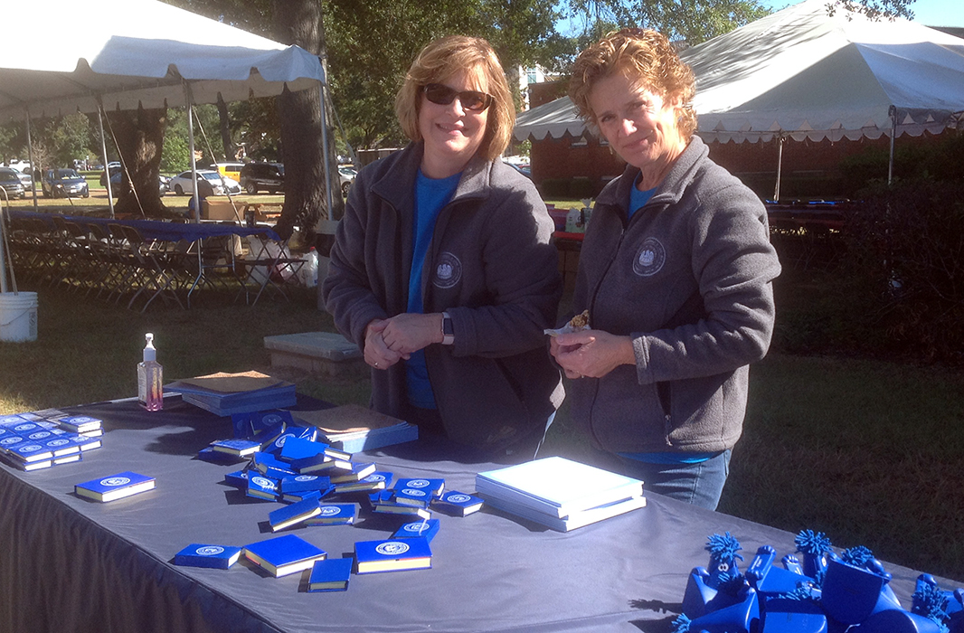 Janet Lindsey and Cheron Seaman manning the information table