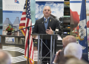 Gov. John Bel Edwards speaking at the ribbon cutting for the Louisiana Tech Academic Success Center in Bossier City