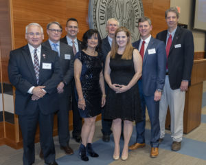 COES Distinguished Alumni are (from left)) Ronald S. Lindsey, Matthew Wallace, Lt. Col. Paul Konyha, Dr. Marsha Friedrich, Dr. Kenny Crump, Kathleen Cummings (received award on behalf of Joshua Cummings), and Jeffrey Plauche, with Dean Hegab. Not pictured: Douglas Houston, Michael Couvillion, Jesse Wilkins and Dr. Bruce Patton.