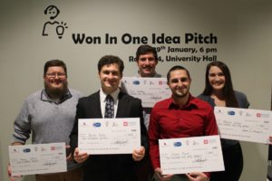 Winners of the 2019 Won in One idea pitch competition are (from left) Henry Cotton, Kevin Holly, Jack Smithey, Charles Franck, and Becca Doucet.