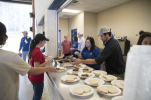 Students and volunteers enjoyed a meal together after the Big Event.