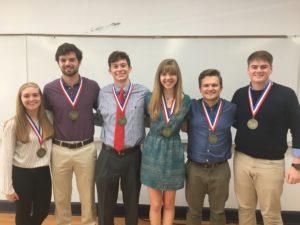 GCSP graduates are (from left) Natalie Mueller, Stephen Bierschenk, John Aguillard, Rachel Hegab, Jacob Fontenot, and Seth McReynolds.