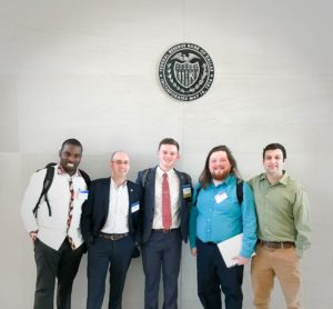 (From left) Dr. Nono Gueye, Dr. Patrick Scott, Sam Dinnat, Quenton Jones, and Joshua Carroll recently attended the Economic Scholars Program (ESP) at the Federal Reserve Bank of Dallas.
