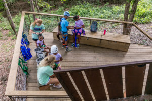Med Camps participants get ready to launch on the zip line.