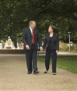 President Emeritus Dr. Dan Reneau and Linda Reneau in the Quad