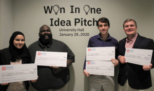 Students who won the Won in One pitch contest
