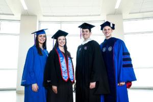 Students model the new regalia for Louisiana Tech University.