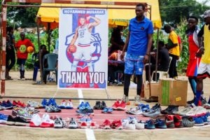 Mohammed shows off donated shoes