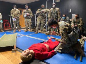 ROTC cadets practice life-saving techniques