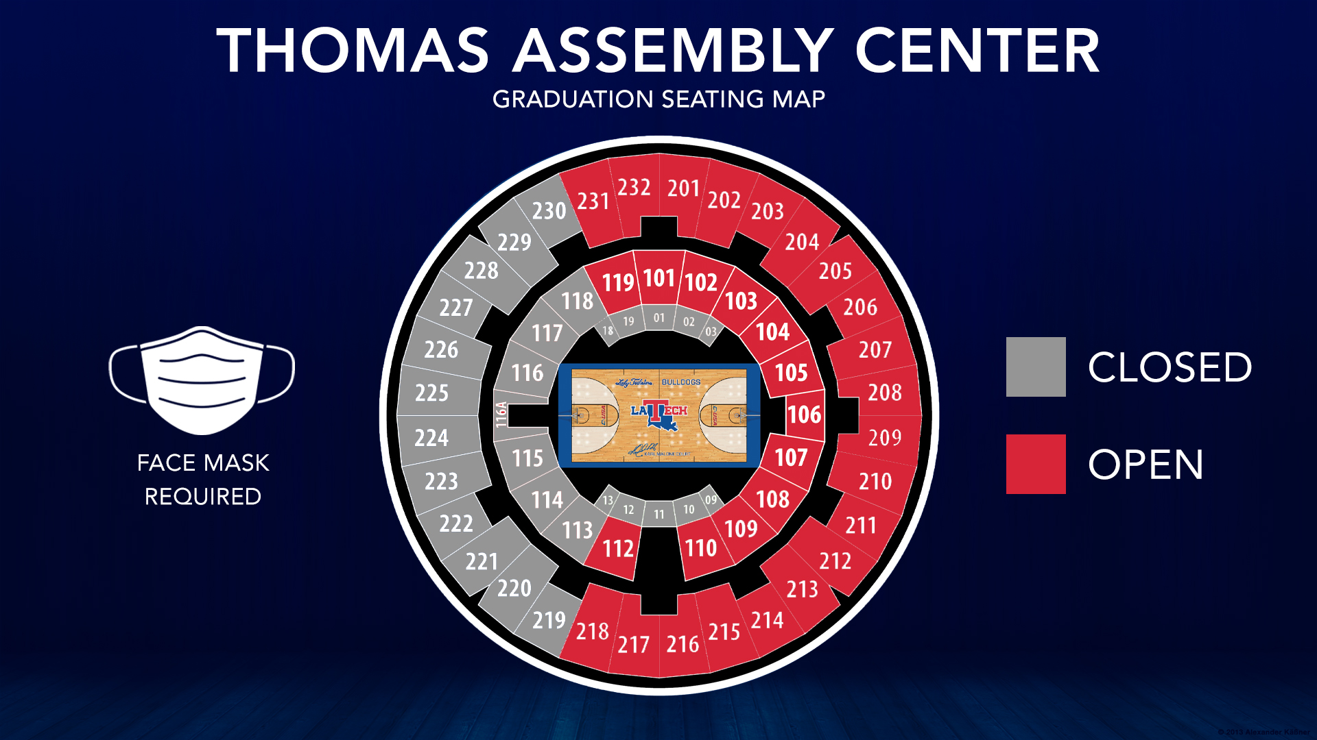 Seating map shows sections of the 100 and 200-levels of the TAC open for seating.