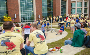 Students gather for crawfish at the annual Spring Release event in the College of Engineering and Science.