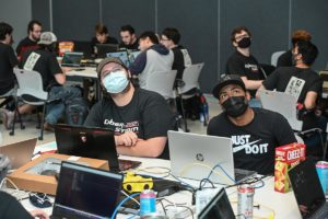 Students learn of a new challenge in Cyber Storm.
