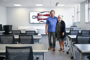 Justin and Jeanette Hinckley in the Virtual Anatomy Lab recently named to honor their support of Louisiana Tech.