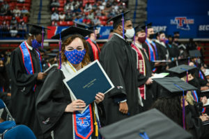 Students celebrate their graduation from Louisiana Tech.