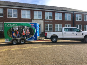 Louisiana Tech's new mobile Forestry classroom sits near Reese Hall.